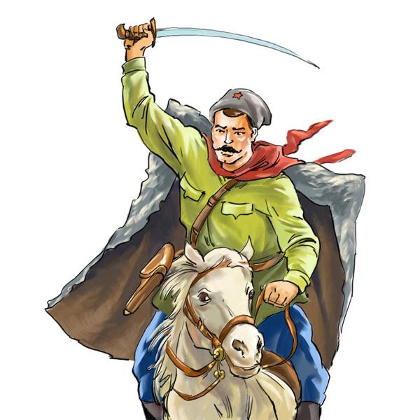 Ilustración del héroe de historietas soviéticas Chapáyev.