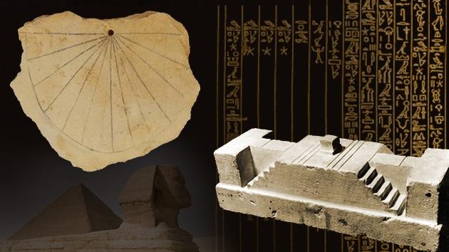 Ilustración que mezcla motivos del Antiguo Egipto y el antiguo Reloj Solar.