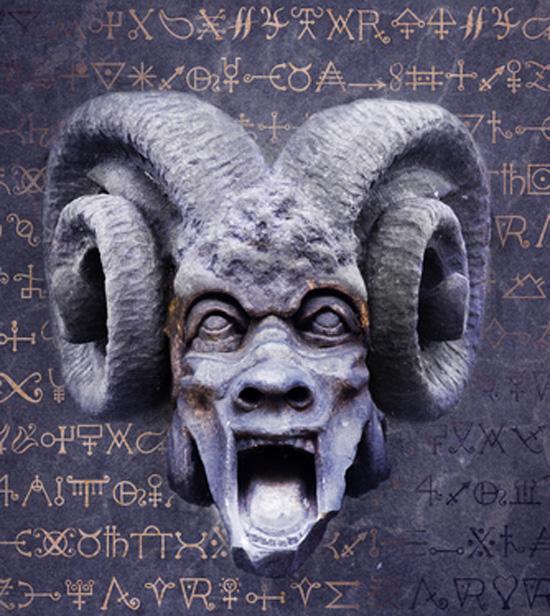 Ilustración de un macho cabrío, o representación del diablo.