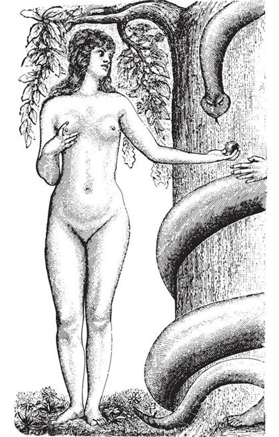 Ilustración de Eva y la serpiente.