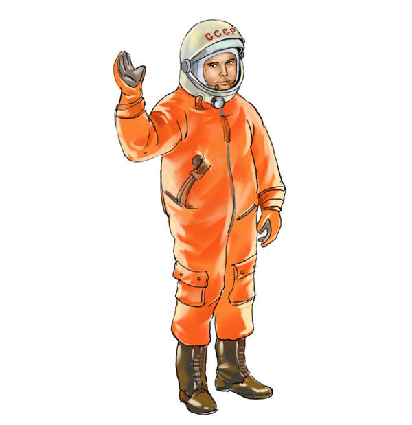 Ilustración del héroe de historietas soviéticas Yuri Gagarin.