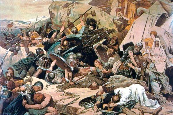 Guerreros góticos y bizantinos en una batalla.