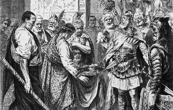 Rómulo Augusto entrega la corona a Odoacro en una ilustración decimonónica