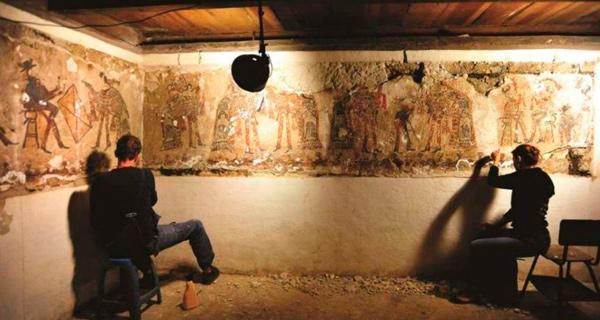 Frescos mayas de la casa de Chajul, en Guatemala.