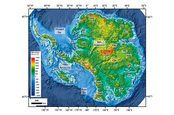 Un mapa muestra el territorio de la Antártida sin hielo