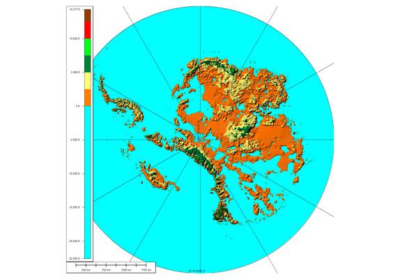 Un mapa muestra el territorio de Groenlandia sin hielo