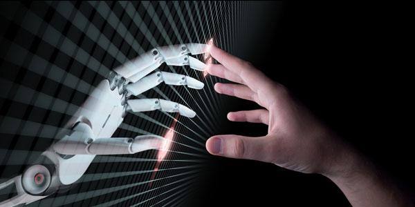 Una mano humana y otra robótica se tocan mediante la punta de los dedos