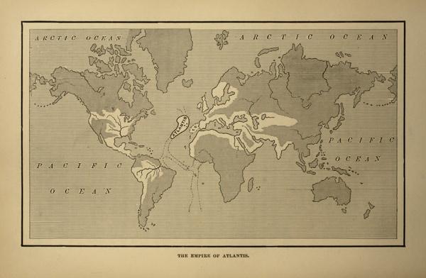 Mapa en Atlantis: The Antediluvian World (1882), de Ignatius Donnelly