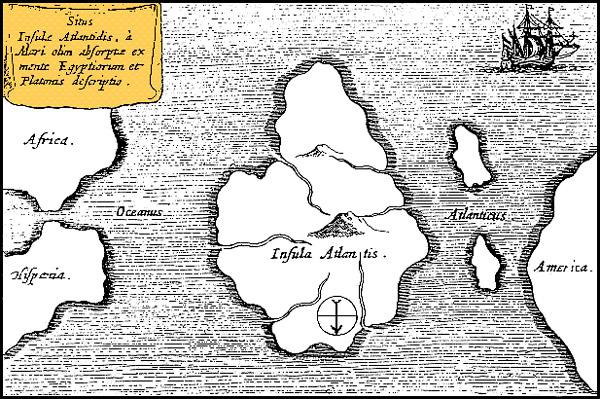Mapa de Athanasius Kircher mostrando una supuesta ubicación de la Atlántida.