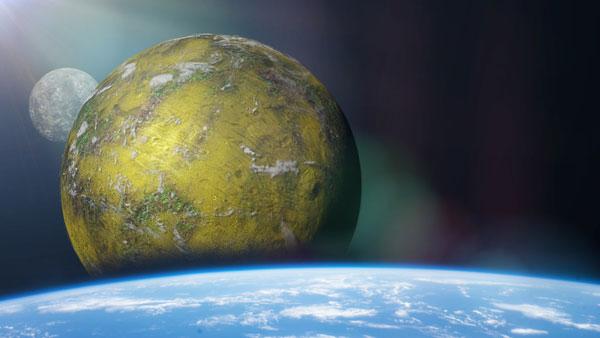 Ilustración de un exoplaneta en primer plano y otros planetas cercanos