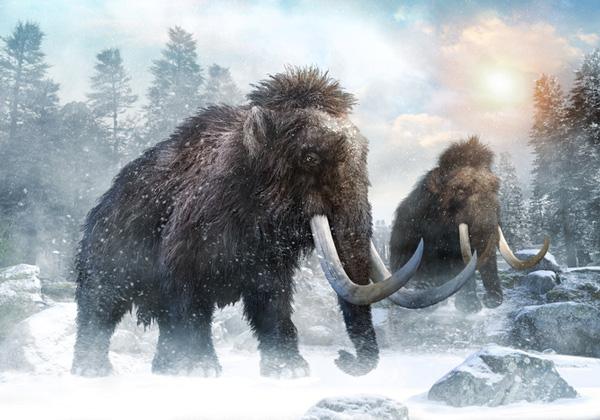 Ilustración 3D de un mamuts en la era del hielo.