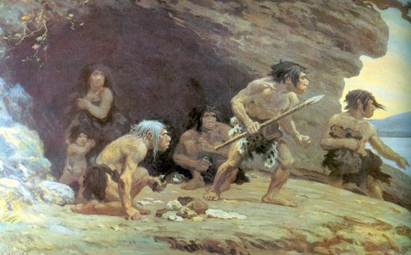 Reconstrucción artística de 1920 de neandertales de Le Moustier.