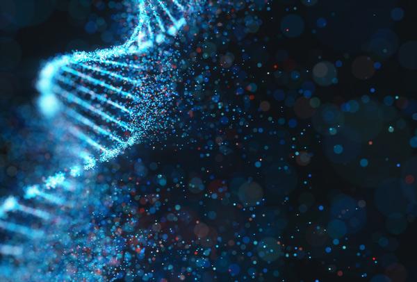 Estructura de molécula de ADN del código genético de color.