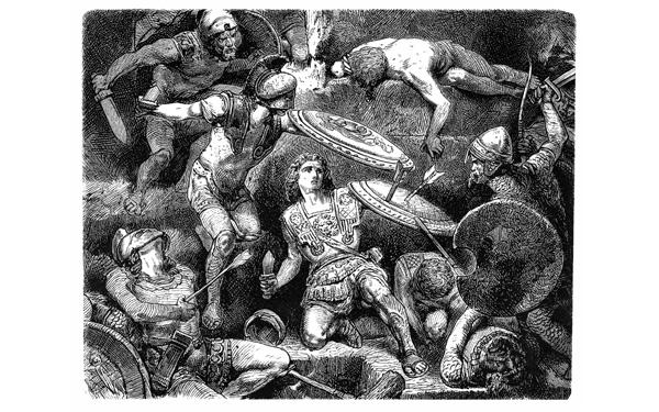 Grabado de Aexander, la gran en Batalla de Gaugamela en 1876.
