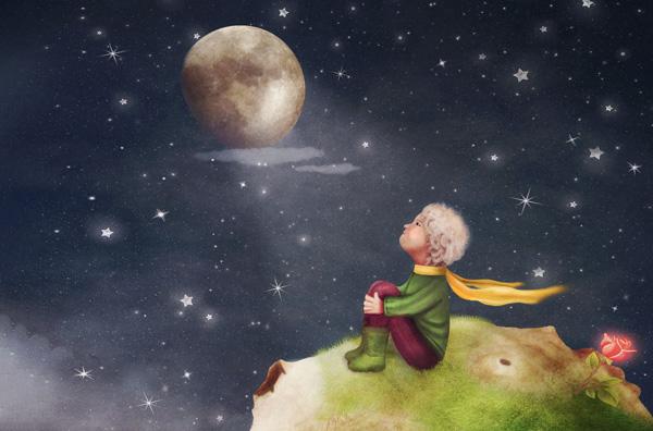 El Principito con una rosa en un planeta en el cielo.