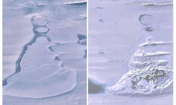 Imágenes del lago cubierto de hielo (izquierda) y la dolina después de que las aguas desaparecieron (derecha).