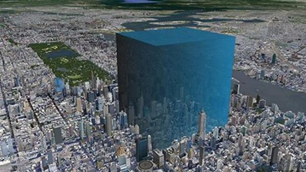 Visualización de los 600-750 millones de metros cúbicos de agua perdidos en el océano desde el lago.