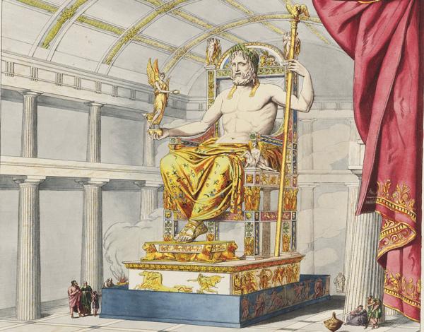 Zeus en Olimpia. Estatua de Feidias en oro y marfil en el templo principal de Olimpia.