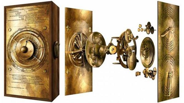 Imagen en tres dimensiones del mecanismo Anticitera desarmado