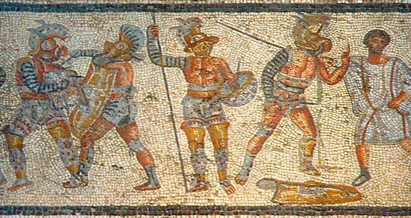 Gladiadores del mosaico de Zliten.