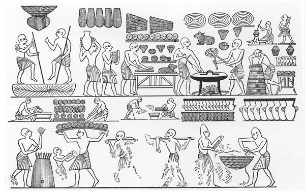 La panadería real de Ramsés III. Se ven panes de varias formas, incluyendo con formas de animales.