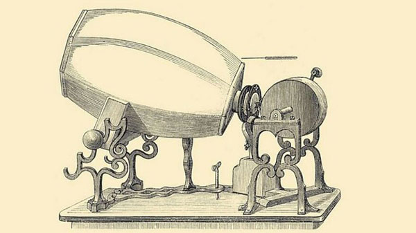 Una versión del fonoautógrafo creado por Edouard-Léon Scott de Martinville