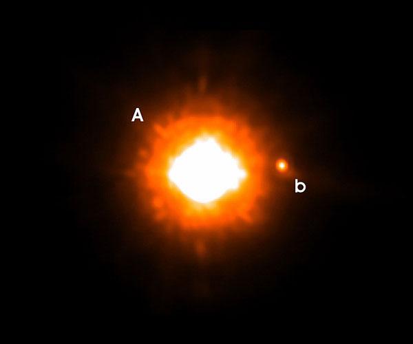 Fotografía astronómica de GQ Lupi b, el planeta extrasolar más grande.