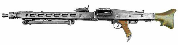 Imagen de una ametralladora MG 42 (Maschinengewehr 42).