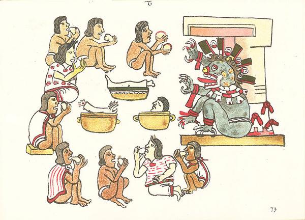 Escena interpretada como canibalismo en el Códice Magliabechiano, folio 73r.