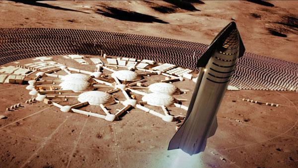 Una nave Starship, aterrizando en una base marciana