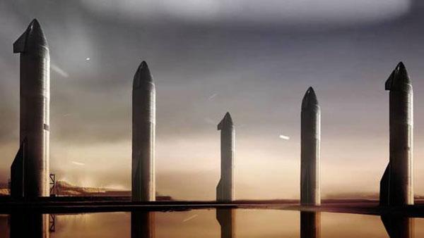 Imagen de las cinco primeras naves Starship que llevarán suministros, maquinaria y robots a Marte