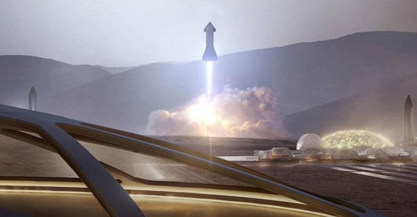 Una nave Starship despega desde Marte hacia la Tierra