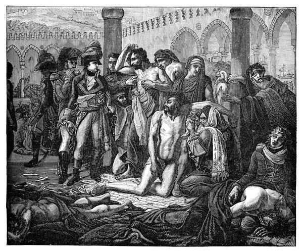 Bonaparte visita la peste afectada en Jaffa por Antoine-Jean Gros, Siglo XIX.