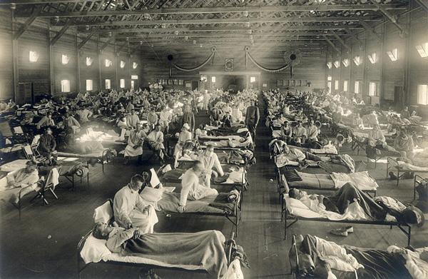 Hospital improvisado en Camp Funston, Kansas, en 1918.