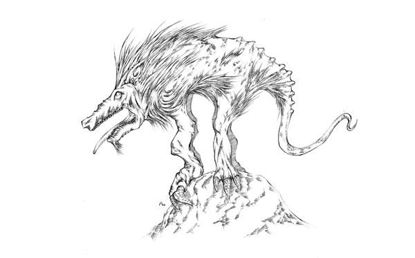 Ilustración del supuesto Chupacabras.