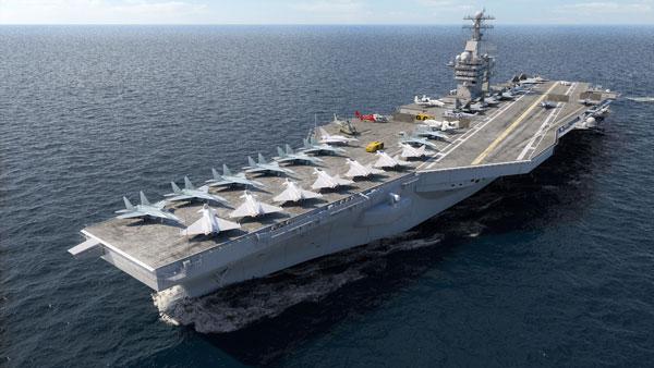 Barco con pista de aterrizaje y avionetas en el océano.