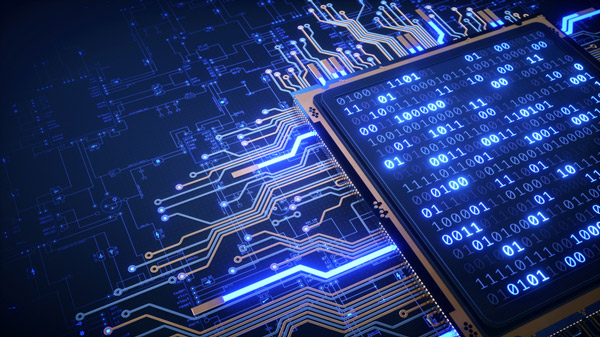 Chip de alta complejidad con números binarios y planos.