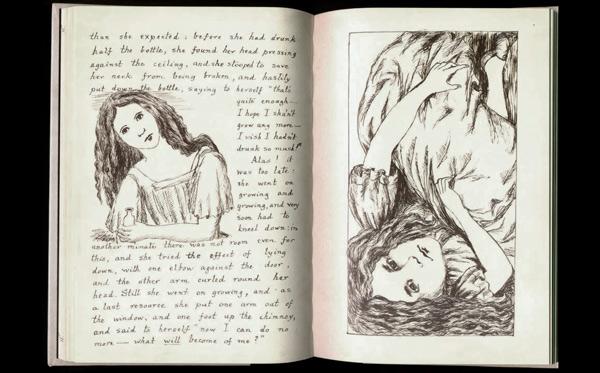 Una de las páginas del manuscrito de Alice in Wonderland, que el escritor presentó a Alice Liddell en 1864.