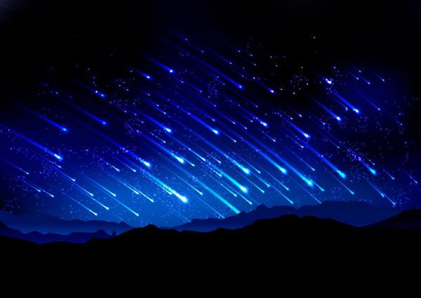 Lluvia de estrellas Liridas sobre silueta de montañas.