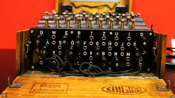 Una máquina Enigma, con la que la marina alemana enviaba a sus submarinos mensajes.