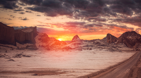 Valle de la Luna cerca de San Pedro de Atacama, Chile.