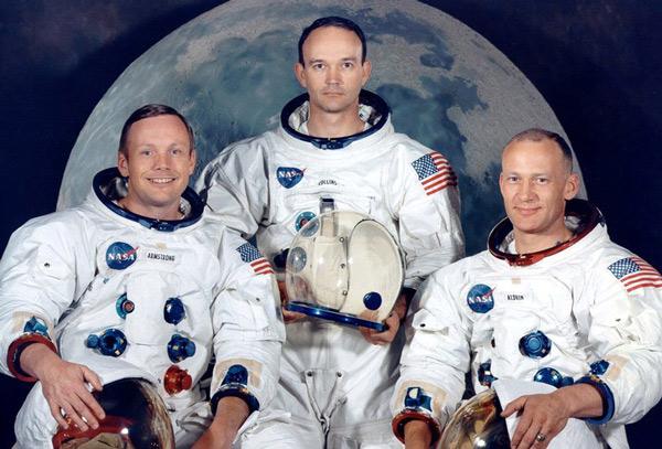 Neil Armstrong, Michael Collins y Edwin Aldrin, el trio de tripulantes del Apolo 11.