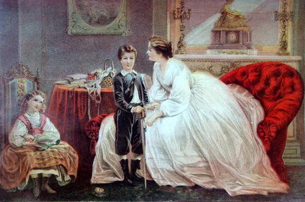 Imagen victoriana que representa a una madre reprendiendo a su hijo.