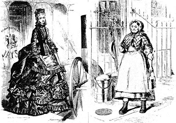 Un contraste de clase extremo en la vestimenta de las mujeres, de la década de 1870: a la izquierda,