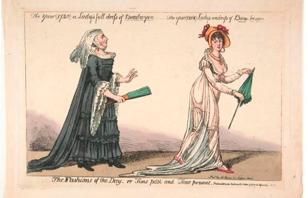 Los creadores de sátiras del siglo XIX destacaron los peligros de los vestidos de muselina, como el riesgo de aparecer desnudos bajo la intensa luz del sol, el viento o la lluvia..