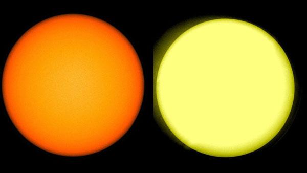 Imagen del Sol obtenida por la NASA en donde se ve a la izquierda un tono amarillo y a la izquierda un tono blanquecino.