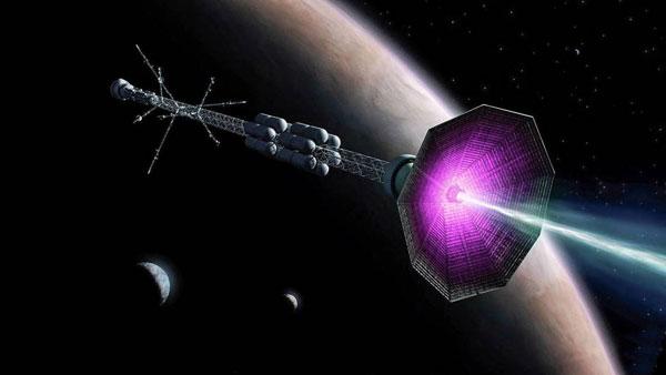 Concepto de la nave con el nuevo motor de fusión nuclear