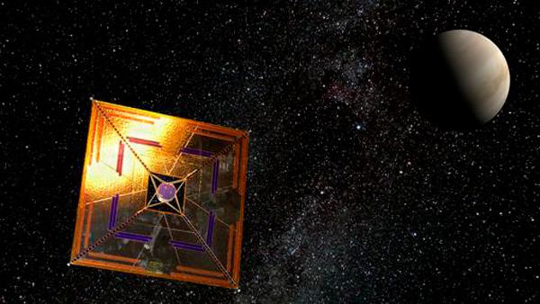 Esquema de la sonda IKAROS, que en 2010 viajó hasta Venus impulsada por una vela solar.