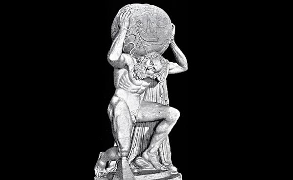 Estatua de mármol de Atlas.