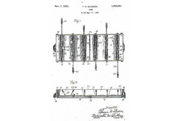 Dibujos de la patente estadounidense de 1933 del Fútbol de mesa.